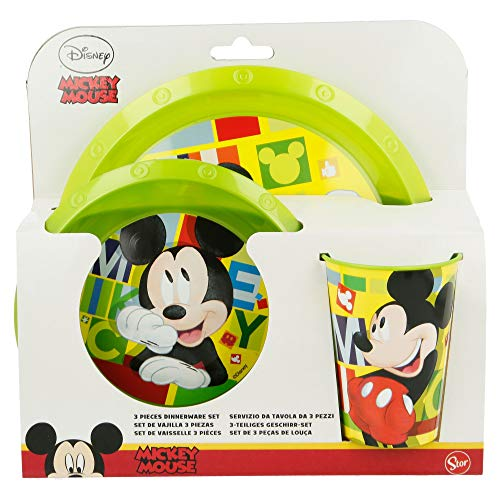 SET EASY 3 PCS (PLATO, CUENCO Y VASO EASY 260 ML) MICKEY MOUSE - DISNEY - WATERCOLORS