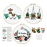 Louise Maelys 3 Pack Embroidery Kit for Beginners Animal Flowers Plant Pattern Cross Stitch Needlepoint Kit Funny Embroidery Starter Kit for Decor
