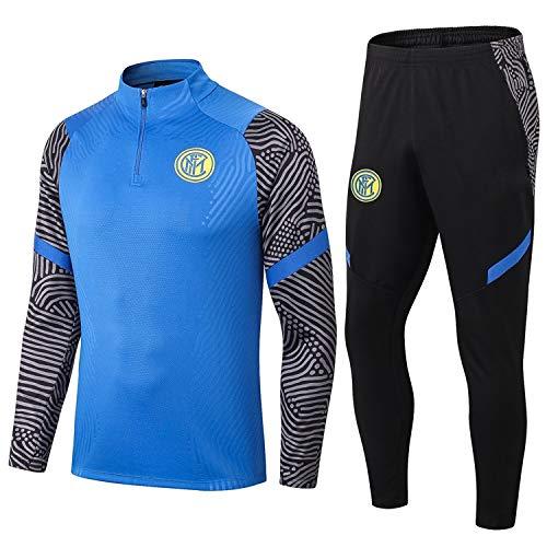 PARTAS Langarm Inter Mailand Tracksuits Football Wear Verein Uniform Trainingsanzug Wettbewerb Anzug Inter Mailand Herren 2 Stück Sets (Size : L)