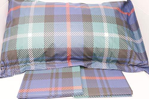 Mirabello Bettwäsche-Set für Doppelbett, feine Perkal aus Baumwolle, Tagesdecke mit Doppelbalza Art. Scozia Blu/Verde U40