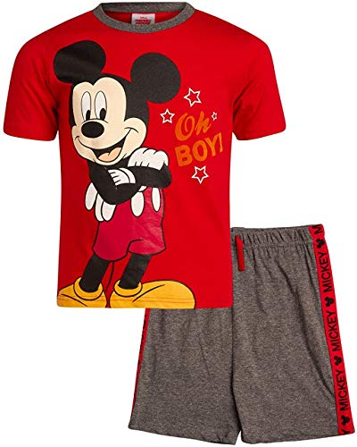 Disney Boys' Mickey Mouse T-Shirt and Knit Short Set 2PC (Infant, Toddler, Boys), Mickey Red, Size 6