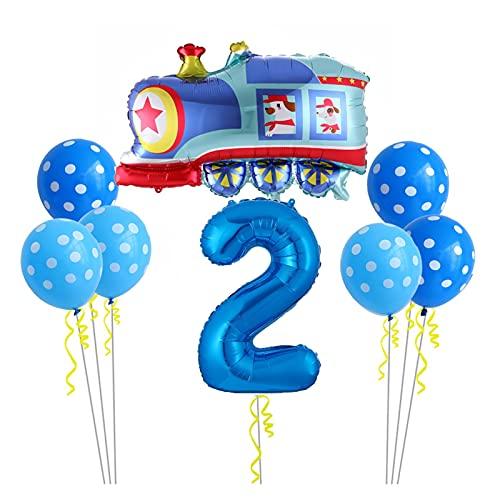 Luftballons DIY Cartoon Auto Ballons Feuer LKW Zug Folie Ballon Kinder 1 2 3th Geschenke Geburtstag Party Dekorationen Kinder bälle (Farbe : Train 2)