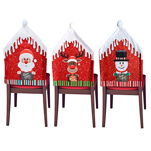 """Christmas Chair Covers Set of 3 Dining Room Chair Slipcovers 18.5""""x22.5 Office Chair Cover Xmas Chair Back Covers for Hotel Ceremony Banquet Wedding Party Christmas Decorations Indoor"""