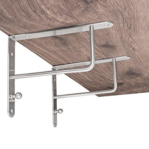 2 Stück - Design Garderobenkonsole Regalkonsole Regalträger Modell SINGA auf Stahl massiv   Edelstahl Finish   Tragkraft 40 kg   Möbelbeschläge von GedoTec®