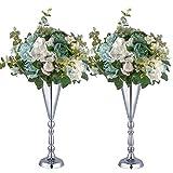 LANLONG Set di 2 vasi da tavolo in metallo per fiori nuziali, centrotavola decorativa, composizioni floreali artificiali, feste di compleanno, corridoio, decorazione per la casa, Argento, 2X42cm