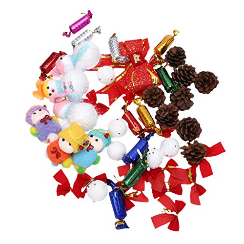 Amosfun - Juego de 46 Adornos para árbol de Navidad para Colgar en el árbol de Navidad, con Lazos para Colgar en el árbol de Navidad, muñeco de Nieve, Lazos, Conos de Navidad