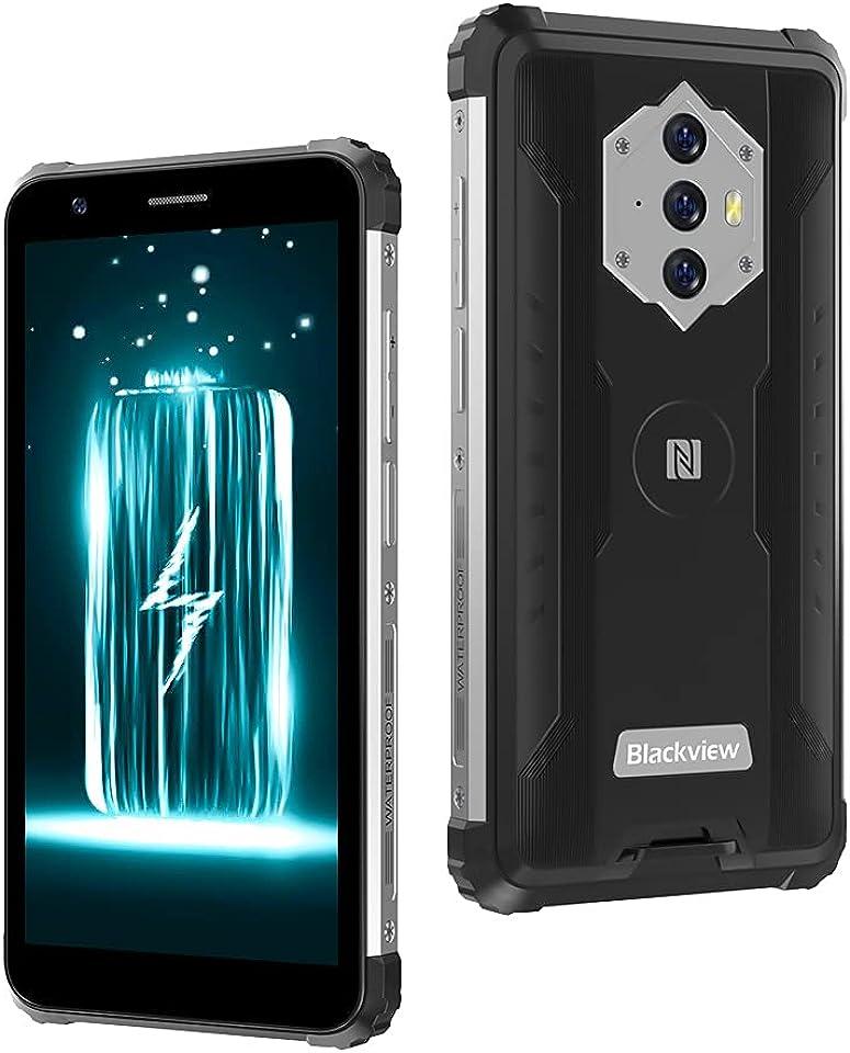 Blackview BV6600 Outdoor Smartphone Ohne Vertrag, 8580mAh Akku Outdoor Handy, 16M+8MP Kamera, 4GB + 64GB, 4G Dual SIM, Android 10 5,7 Zoll Robustes Handy, NFC/Face ID/OTG/IP68/GPS