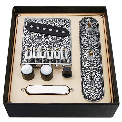 Fransande Placa de puente de sillín de 6 cuerdas, placa de control de interruptor de 3 vías, juego de pastilla de cuello para guitarras eléctricas TL Telecaster piezas de repuesto (plata)