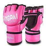 GINGPAI Half Training Boxing Mitts Gloves for Men Women, Training Gloves, Sparring Gloves for Punching Bag, Kickboxing, Muay Thai, MMA, UFC (Pink White Medium)