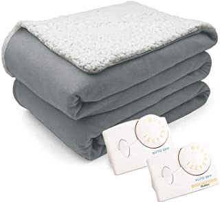 Overstock Pure Warmth 1033-9031RM-901 Comfort Knit Natural Sherpa Electric Heated Blanket Queen Gray