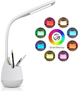 Lámpara de Escritorio Regulable con Panel Táctil,Luz de Color y 3 Niveles de Brillo,Brazo Tipo Cuello de Cisne,Protección para los Ojos, 5W (blanco)