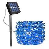 Guirnalda Luces Exterior Solar, Luces Navidad 8 Modos 120 LEDs 12M/39ft Alambre de Cobre Luz Decorativa Impermeable, para Terraza, Fiestas, Bodas, Patio, Jardines, Festivales (Azul)