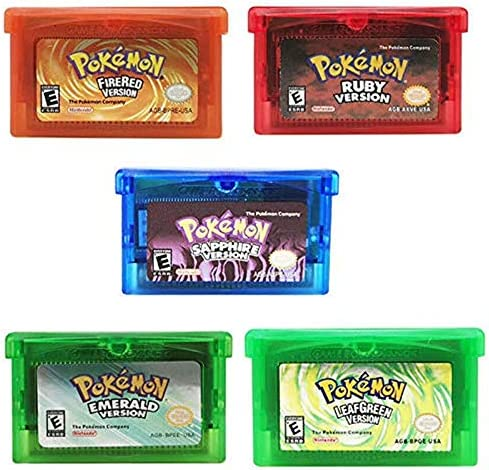 5 Pcs Pokemon Emerald Ruby Sapphire FireRed LeafGreen GBA Game Cards Gameboy Cartridge For NDS product image