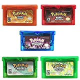 5 Pcs Pokemon Emerald Ruby Sapphire FireRed LeafGreen GBA Game Cards Gameboy Cartridge For NDS GBA SP