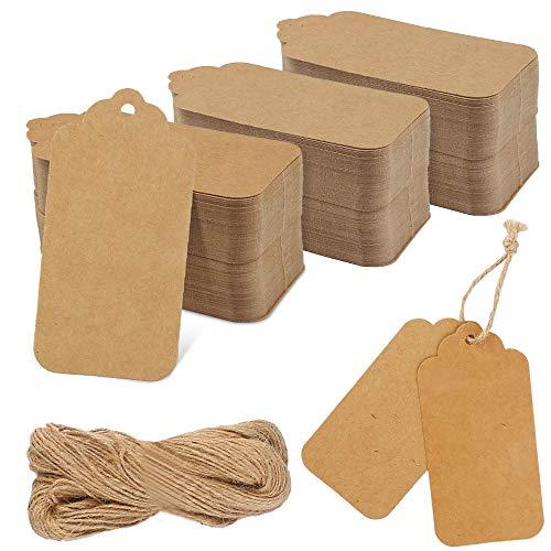 Vegena 300 etiquetas de regalo de papel de estraza para colgar, etiquetas de regalo, 4,5 x 9 cm, con cuerda de yute de 80 m, para bodas, Navidad, regalos para manualidades