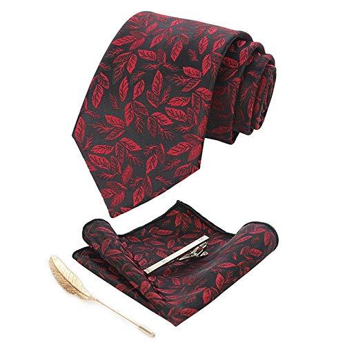 XXYHYQHJD Diseño de Las Hojas de 8 cm clásicos for Hombre del Clip del Lazo de Seda de Moda Retro del Lazo del pañuelo Broche del Grupo de unión Lazos for los Hombres de Negocios de Boda Gravata