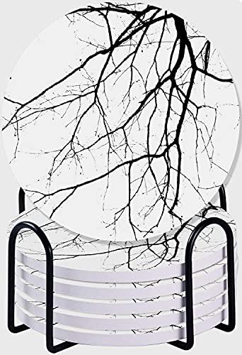 GUVICINIR Juego de 6 Posavasos de cerámica Absorbente con Base de Corcho,Macro Ramas de árboles de Invierno sin Hojas ramitas idílicas de Roble impresión de la Naturaleza, Blanco y Negro