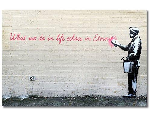 WandbilderXXL QuadriXXL Stampe d'Arte di qualità «Banksy No.17» 120x80cm - Disponibile in 6 Diverse Misure. Pronta per Essere appesa. Grandi Quadri su Tela a Basso costo.