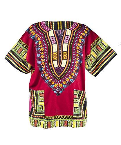 Lofbaz - Unisex Dashiki - Traditionelles Oberteil mit afrikanischem Druck L Burgund