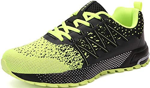 SOLLOMENSI Laufschuhe Damen Herren Sportschuhe Straßenlaufschuhe Sneaker Joggingschuhe Turnschuhe Walkingschuhe Schuhe 44 EU H Grün