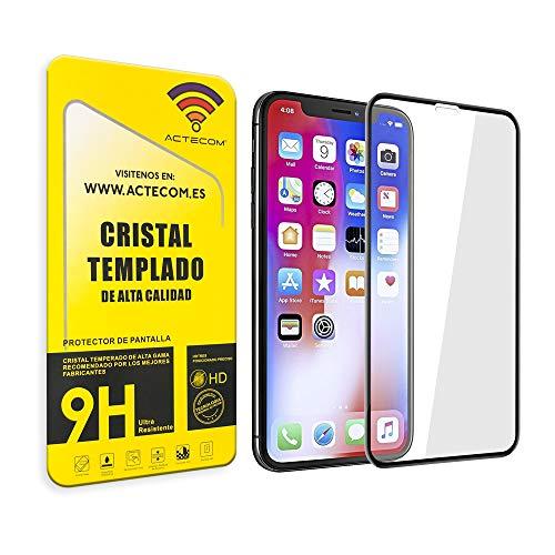 actecom® Protector Pantalla Completa 3D 5D Negro Cristal Templado Compatible con iPhone...