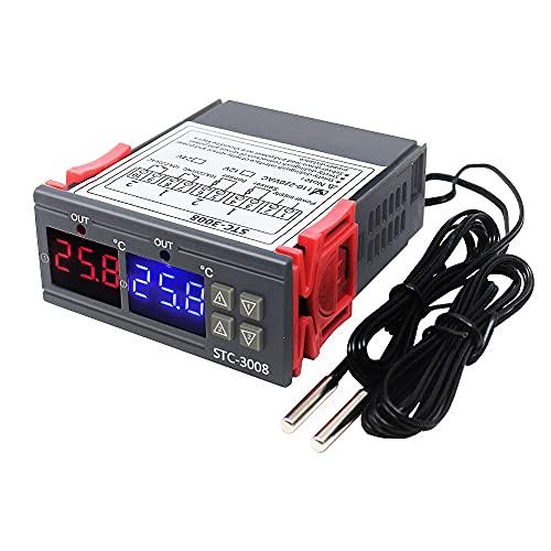 KETOTEK Regolatore di temperatura digitale STC-3008 220V con 2 sonda, Termoregolatore Relè Incubatrice Rettili Forno Termostato Riscaldamento Raffreddamento