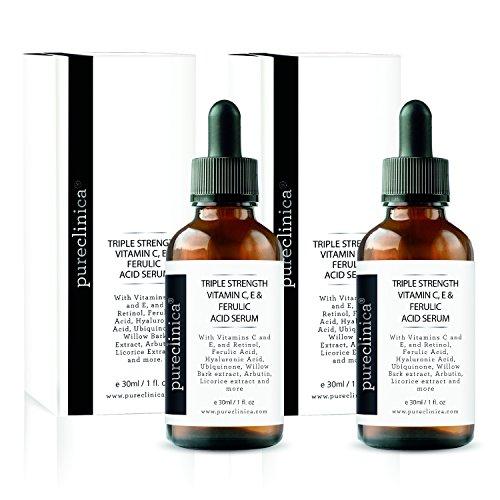 Triple Strength Vitamin C, E & Ferulic Acid Serum (w/Retinol & double weight Hyaluronic Acid) – 30ml / 1 fl oz (2 bottles)) SKU - VCEFASER30x2