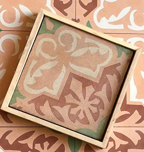 Crafted Tiles -Ref:183 - Baldosas Hidráulicas Artesanales de Cemento y Marmolina. 1 m2 (25 piezas) de Mosaico Vintage Azulejos aptos para Cocina, Baño y Exteriores. Tamaño 20 x 20 x 1.6cm