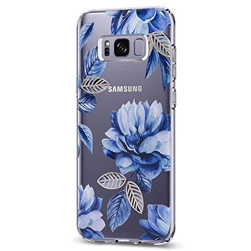 Vanki Cover Samsung Galaxy S8 Plus, Galaxy S8 Plus Custodia Morbida di TPU Cristallo Trasparente Sottile Bordo Proteggi Copertura Completa (Fiori di Ciliegio) (Samsung Galaxy S8, Color1)