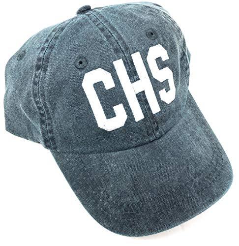 Custom Embroidered CHS Charleston International Airport Code Baseball Hat (Pigment Dyed Navy Blue)