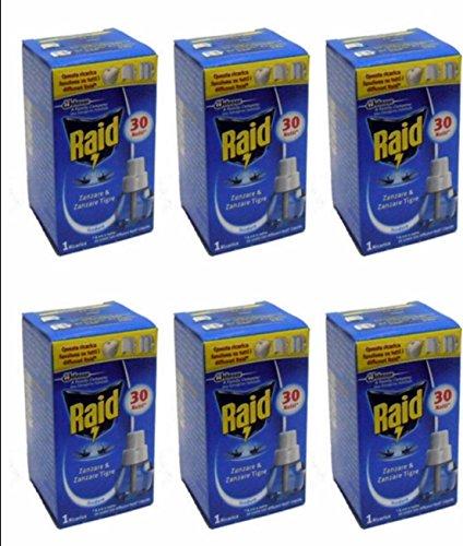 6 Ricariche RAID LIQUIDO Ricarica Diffusore Elettrico zanzare tigre e comuni