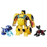 Transformers Rescue Bots - Robot Electronique Bumblebee Secouriste Voiture de course 25cm et 2 Animaux - Jouet transformable 2 en 1
