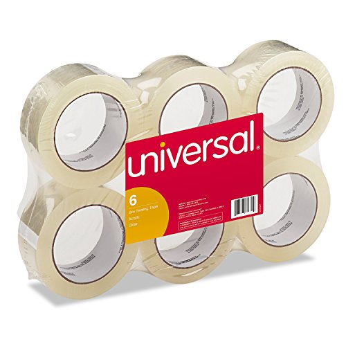 Universal General-Purpose Box Sealing Tape, 48mm x 54.8m, 3' Core, Clear, 6/Pack (63000)