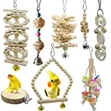 Deloky 8 Packs of Bird Parrot Swing Chewing Toys-Natural Wood Bird Climbing Hanging Cage Toys Suitable for Small Parakeets, Cockatiels, Conures, Finches,Budgie,Macaws, Parrots, Love Birds