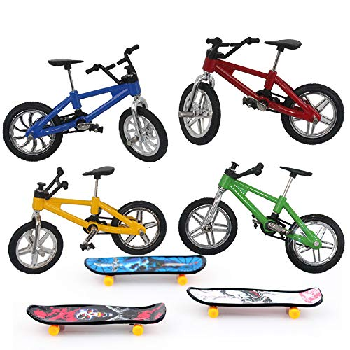 TangTanger 7 Pcs Mini Finger Skateboards and Bikes, Cool Sports Finger Skateboards Finger Bicycle Accessories Toy Creative Game Gifts