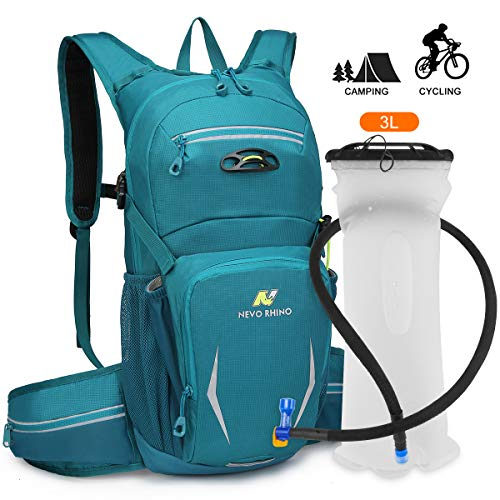NEVO Rhino Hydration Backpack Pack with 3L Water Bladder for Hiking Running Cycling Climbing Skiing