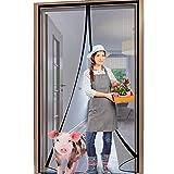 YUFER Magnetic Screen Door 38×82 Reinforced Fiberglass Screen Door Magnets Screen for Doorway Sliding Door mesh with Full Frame Hook&Loop - Grey