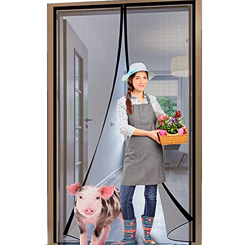 YUFER Magnetic Screen Door 28×80 Fiberglass Mesh Screen Sliding Door Screen with Magnets Full Frame Hook&Loop -Grey