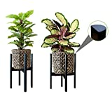 2 Pack Plant Stands, MA Squared Adjustable (9.5' to 12'), Flippable Bamboo Planter Holder & Pot Stand with Semi-Round Legs - for Indoor/Outdoor Live and Artificial Pots - Easy Assembly