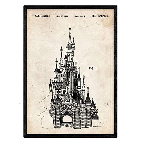 Nacnic Poster con Patente de Castillo Disney. Lámina con diseño de Patente Antigua en tamaño A3 y con Fondo Vintage