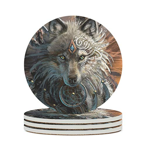 YshChemiy Posavasos de cerámica redondo con diseño de lobo guerrero con base de corcho, alfombrillas de cerámica para evitar que los muebles para tazas se rayen de 9,9 cm de diámetro, 4 unidades