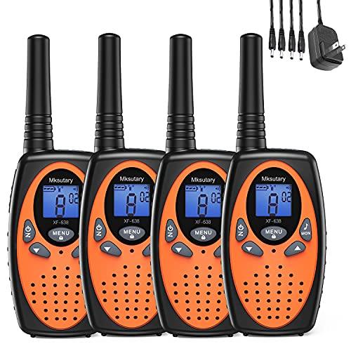 Mksutary Walkie Talkies for Kids Rechargeable Walkie Talkies for Adults Long Range Walkie Talkies 4 Pack 22 CH 3 Miles High Sound Long Distance Two Way Radios for Kids, Boy, Girl, Camping (Orange)