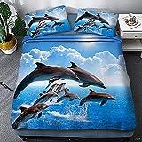 Juego de Ropa de Cama con 3D Bedding para Niño Adolescentes Chico delfín Dimensiones (220x240 cm), Juego de 3 Piezas, 1 Funda nórdica + 2 Fundas de Almohada a Juego