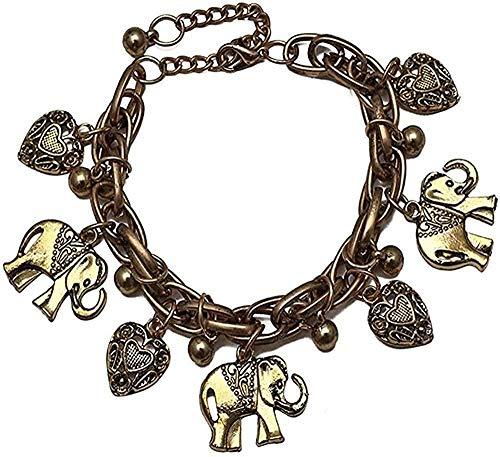 Collar Vintage Bohemio Color dorado elefante corazón pulseras con dijes para mujer cadena regalo Pulseira Feminina joyería