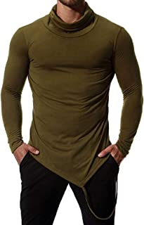 Coolred-Men Slim Casual Mock Neck British Style Long Sleeve T-Shirt