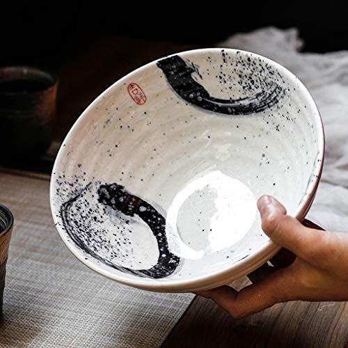 GAOFQ Tazones de Cereales Tazón de Sopa de Fideos Hecho a Mano Tazón de cerámica de 7.5 Pulgadas Tazones Decorativos para Servir 30 onzas con Estilo Retro para Ensalada de Fideos