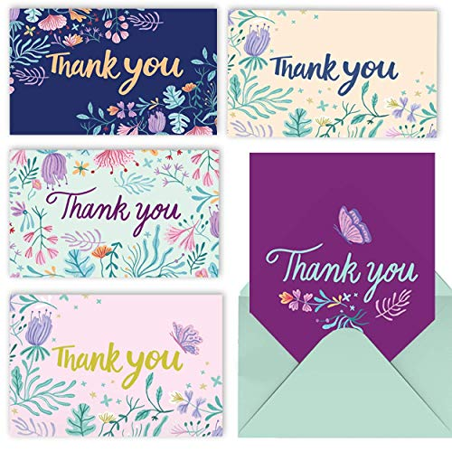 MPFY- Thank You Cards with Envelopes, Pack of 20, 6x4 Inch, Thank You Notes, Thank You Card, Bulk Thank You Cards, Blank, Floral, Flower, Wedding, Baby Shower, Birthday, Bridal, Professional, Cute