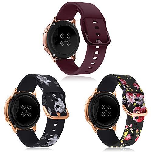 Syxinn Compatible con Galaxy Watch Active/Active2 40mm 44mm Correa de Reloj 20mm Silicona Banda de Reemplazo Pulsera para Galaxy Watch 42mm/Gear Sport/Gear S2 Classic/Ticwatch 2 (B5, 3 Paquete)