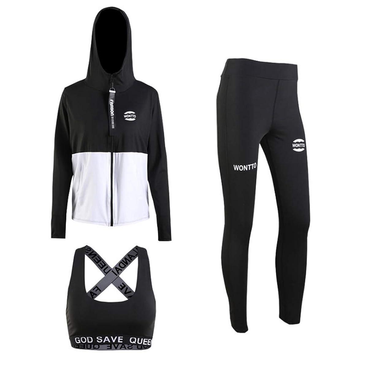 ワット変更株式会社フィットネスウェアスーツ長袖フード付きジャケットストレッチパンツスリーピースランニングスポーツヨガの服フィットネスウェアスポーツウェア (Color : 1, Size : XXL)
