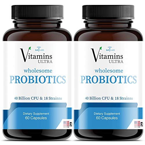 (2 Pack) Vitamins Ultra Wholesome Probiotics 51 Billion CFU and 18 Strains for Women Men